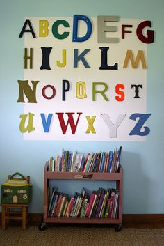 want an old library cart for the kids books. Love the ABC's on the wall for a playroom.