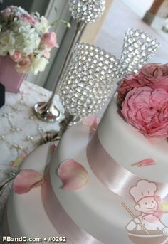 "Design W 0262 | Fondant Wedding Cake | 14""+10""+6"" | Serves 125 | Satin Ribbon, fresh flowers | Standard Price"