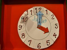 Teaching time: A clock that shows hours and minutes.