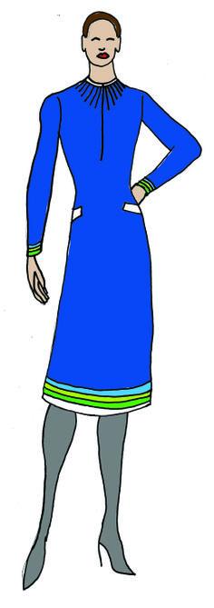 Uniform design in Transavia Colours, winter dress, same colour scheme in thicker jersey fabric.