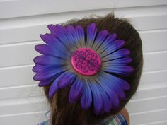$4 Purple Button Flower Power Hair Barrette Purple Blue Pink Gerber Daisy Hair Accessories