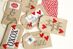 .: Linen Valentine Gift Tags