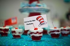 What a great Seuss party snack: Cat in the Hat parfaits!