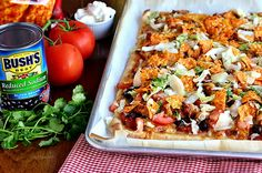 Black Bean  & Chicken Taco Pizza recipe at TidyMom.net