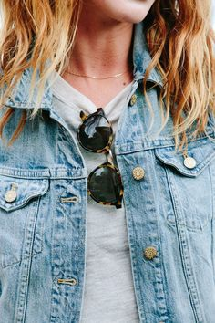 denim jacket + tortoise shades