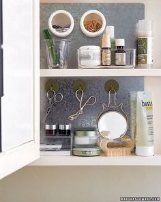 Medicine Cabinets to store the small stuff.  #hiddenstorage #bathroom  http://www.nichedesignsinc.com/uncover-hidden-storage-event/