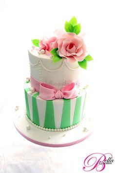 Apple green & Pink wedding cake mini cake, pink cakes, food, pink weddings, green cake, wedding cakes, bella cupcak, cupcake cakes, green stripe