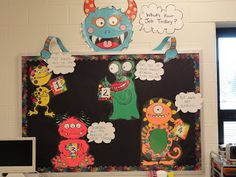 Each student's table has numbers to correspond with the monsters on the bulletin board that tell them their job for the day.