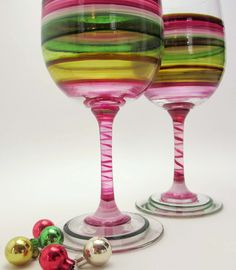 Vintage Style Hand Painted Wine Glasses- Original Glassware- Holiday Entertaining. $40.00, via Etsy.