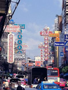 The neon signs and perpetual traffic of Bangkok's Chinatown. Image by Tim Richards