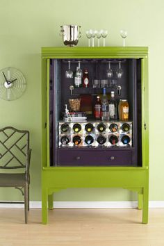 DIY Home Bar Cabinet From An Armoire