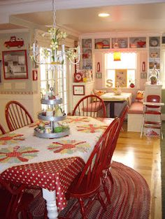 adorable red cottage kitchen