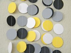 Mommy to Bee Theme Yellow White Gray and Black Paper Circle Dot, Bumble Bee Shower, Baby or Bridal Shower 10 feet on Etsy, $10.00