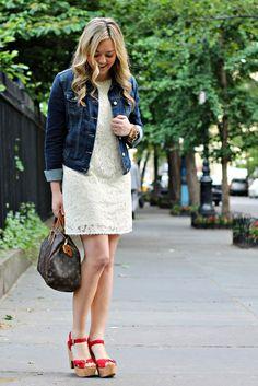 Lace Dress with Jean Jacket
