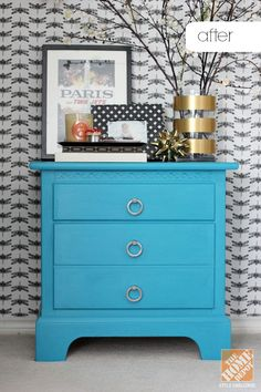 This nightstand looks totally new with fresh coat of chalky finish paint and new ring pulls! Cassie Freeman of Hi Sugarplum offers her tutorial on The Home Depot Blog. Just click through.