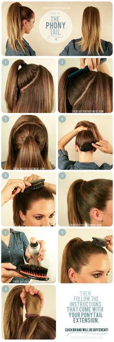 poni tail, hair tutorials, ponies, long hair, hair beauty, hair ties, hairstyle, beauti, pony tails