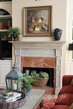 White-washed mantel using chalk paint.   Savvy Southern Style