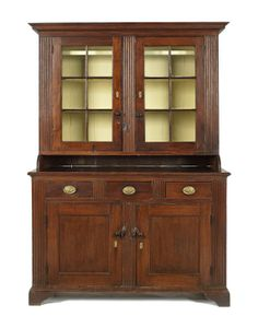 Sold $3,800 Pennsylvania walnut Chippendale Dutch cupboard, ca. 1780, with fluted pilasters, 88 1/2'' h., 59 3/4'' w.