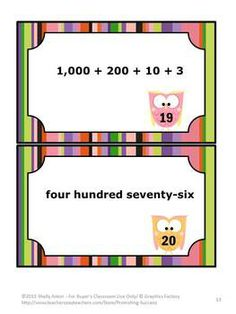 50 Task Cards for Place Value to the Thousands