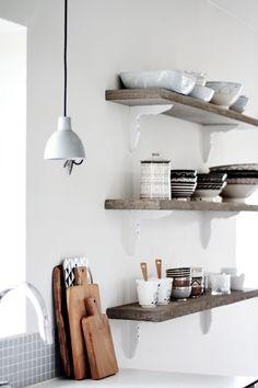 natural wood shelves