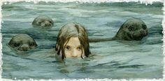 artists, seals, seas, illustrations, selki, sheds, children, islands, mermaid