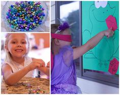 """Princess Party Ideas - each girl was able to create her own sparkly necklace and played """"Pin the Lips on the Frog"""" #princess #peartreegreetings #birthday"""