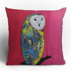 Clara Nilles Owl On Lipstick Throw Pillow