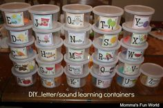 Momma's Fun World: DIY...alphabet sounds teaching tubs {this is how I taughter my Kindergarten class every year, love sounds boxes! ~ Kim}