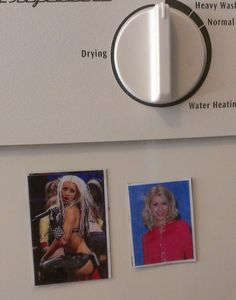 """""""Today I made some Christina Aguilera magnets for our dishwasher so we would know if our dishes were clean or dirrty.""""--"""