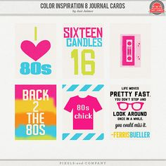 Back to the 80s journal cards - free printable
