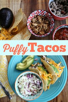 Puffy Tacos {Taco Bar for Cinco de Mayo}.  Y'all.  This is THE most delicious way to eat tacos.  OR to eat, period. #godblesstexmex