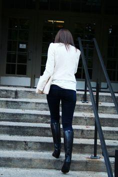 Flat/Short/Small Wedge Heeled Black Knee High Boots