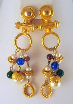 Etruscan Revival Faux Pearl Beads Goldtone by GrapenutGlitzJewelry, $20.00