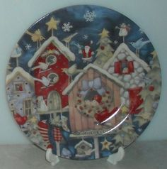Debi Hron Holiday Home Bird Houses Christmas Salad Snack Plate Blue  ~ This Item is for sale at LB General Store http://stores.ebay.com/LB-General-Store ~Free Domestic Shipping ~