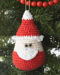 Whimsical Santa ornament - make 3 with one ball each of Red, Soft Ecru and White shades of Lily Sugar'n Cream.
