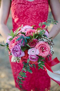 pink ranunculus, peony, rose and pieris bouquet by Camellia Floral Design