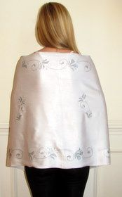 Beautiful silver shawl for your classy evening dress and gown.