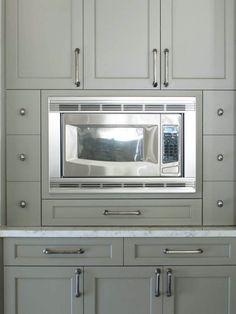 Dresser Homes - kitchens - Benjamin Moore - Gettysburg Gray - gray kitchen, gray cabinets, gray kitchen cabinets, shaker cabinets, gray shaker cabinets, marble countertops, built-in microwave nook, microwave nook,