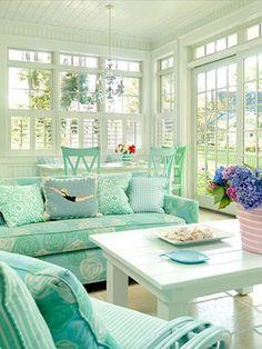 Aqua sunroom.