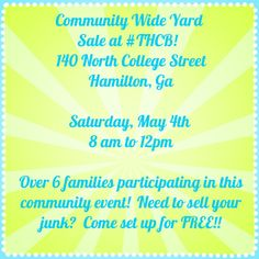 Don't miss this community wide yard sale.