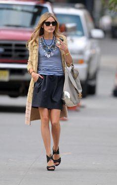 stripes + black + beige outfit