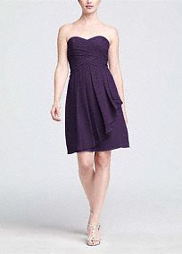 On trend and ultra feminine, this strapless style is great for a bridesmaid and offers plenty of wear-again potential!  Ruching detail shapes a stunning sweetheart neckline that flatters any body type.  Crinkle chiffon flows to create a front cascade that adds dimension and romance.  Short silhouette is versatile and chic making this style a closet staple.  Fully lined. Back zip. Imported polyester. Dry clean only.  Available in our exclusive 42 color palette.  Get inspired by our colors..