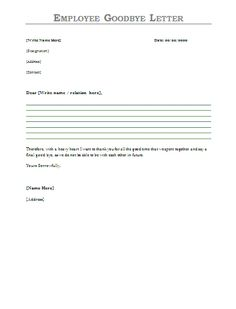 Employee Goodbye Letter - Sample employee farewell message to send via email when leaving employment.