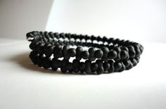 Gentleman's BLACK TWISTER Bracelet  Matte by LyndaHayesDesigns, $45.00