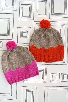 Knitted hats with scallop detail