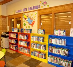 """""""Launch into Reading!"""" - Sioux Center's Easy Readers section with levels A, B, and C."""
