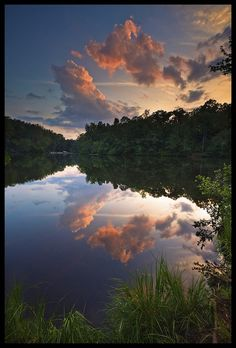 End of day reflection - Lake Placid at Paris Mountain State Park in South Carolina;  photo by heelside (Charlie Hugo), via Flickr