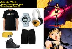 Like Sailor Moon Outfits on Facebook! Requested by:usagiimixx Casio G Shock Classic watch in Gray Vans OTW Alomar black wax canvas shoe Nor Cal medieval black tee shirt mix-style yellow star headphones Yellow canvas military belt   Volcom Frickin Modern black chino shorts or these shorts