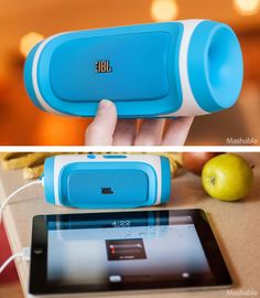 These tiny colorful speakers pack a big punch! In addition to amazing sound, they can also charge your phone or iPad!