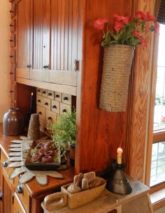 coloni pantri, cabinets, primit place, magazin, kitchen, countri journal, countri cabinet, hanging baskets, country